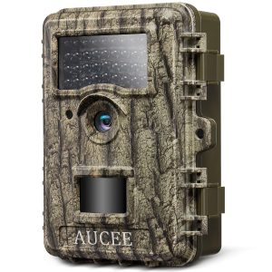 "Aucee Trail Camera, 14MP 1080P HD Game Camera Wildlife Camera Night Vision Motion Activated, Deer Camera Hunting Camera with 36 No Glow IR LEDs and 2.4"" LCD Screen, IP67 Waterproof Scouting Camera"