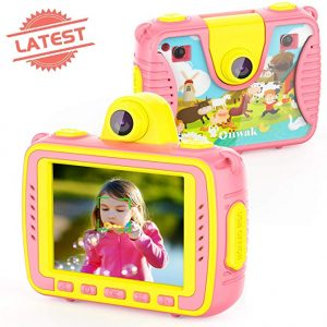 Kids Camera [2019 Newest], Oiiwak Selfie Digital Waterproof Action 8.0MP 1080P Video Cameras for Kids - 2.4 Inch Large Screen with Fill Light, Pink