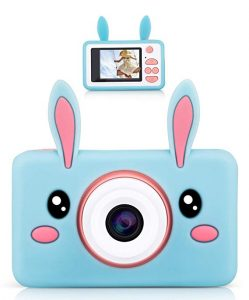 Lilexo Kids Digital Camera, Gifts for Girls Age 3-8 Years Old, 8MP HD Children Shockproof Mini Video Camcorder, Toy Camera with Animal Silicone Cover, 16GB Memory Card Included (Blue Rabbit)