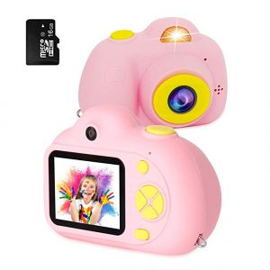 RegeMoudal Kids Digital Camera Gifts for Child Boys Girls,Mini Rechargeable Children Shockproof Digital Camcorders Little Kid Toys Gift 8MP with Battery 2 Inch,Pink