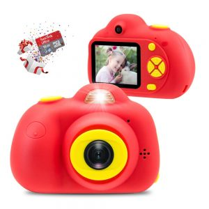 Veroyi Kids Camera 8.0MP Rechargeable Digital Front and Rear Selfie Camera Child Camcorder, Toys Gift for 4-10 Years Old Boys and Girls (Red)