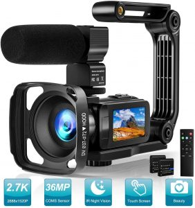 Video Camera 2.7K Camcorder With Microphone Ultra HD 36MP Vlogging Camera